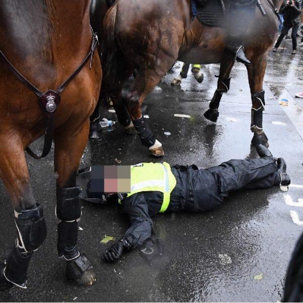 """UK Police officer knocked off a horse during """"black lives matter"""" protests"""