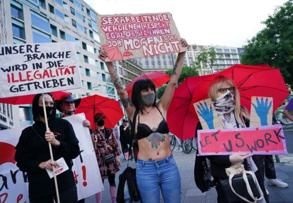 Sex workers in Germany take to the streets demanding brothels to be allowed to reopen