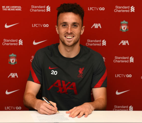 Liverpool sign forward Diogo Jota from Wolves