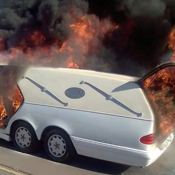 Hearse burns up in flames