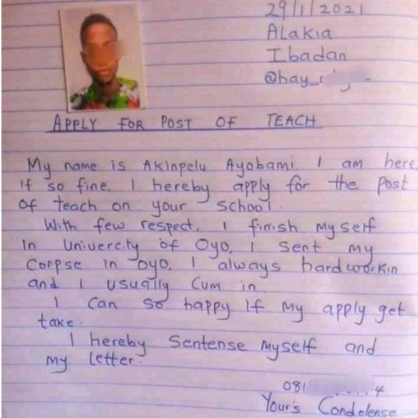 A Nigerian man hoping to become a teacher wrote this application letter