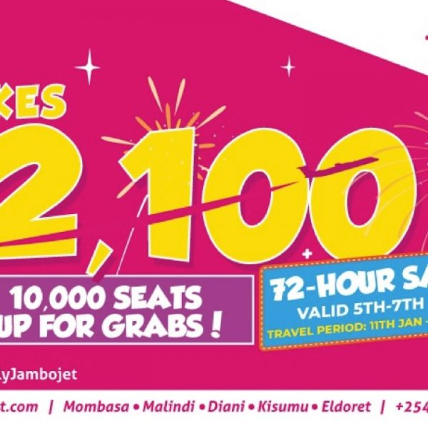 Jambojet Announces Flash Sale Of 10,000 Seat Spaces For Ksh 2,100 Each