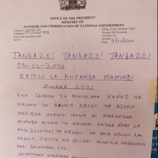 Security Committee of Njoro Sub-County has banned the cultivation of maize in Nessuit, Sigotik and Misipei  up to Dec 2021