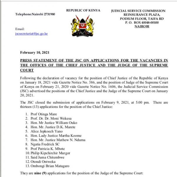List of Applicants for position of Chief Justice is out