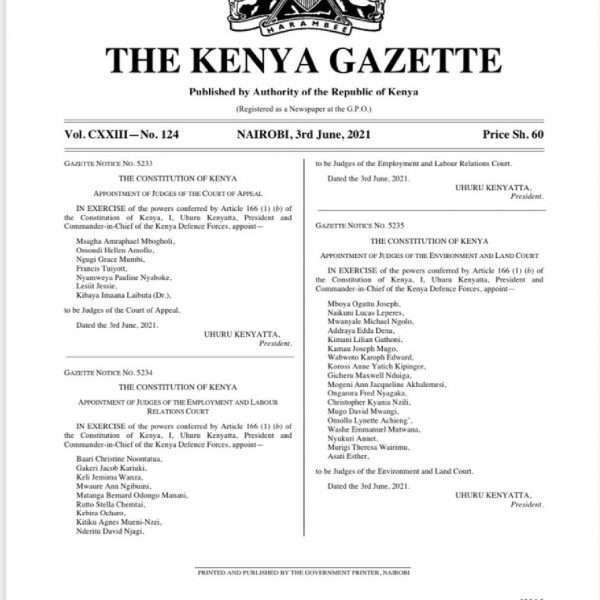 President Uhuru Kenyatta Appoints 33 judges