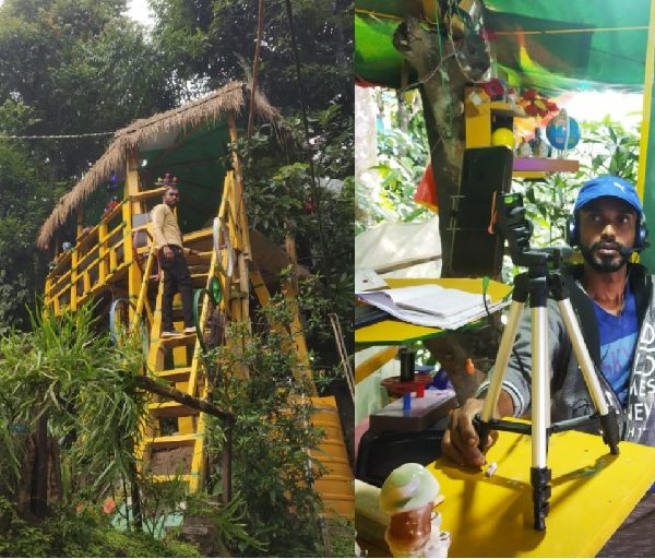 Teacher in India builds tree-house classroom to ensure internet connection