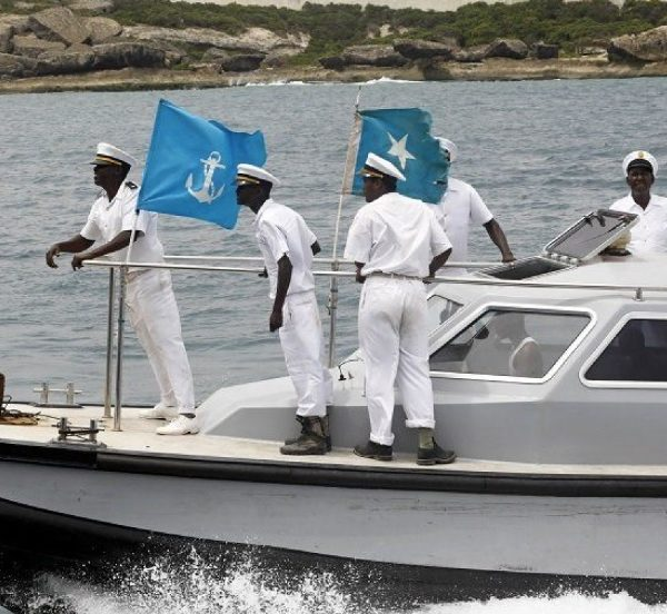Somalia marine forces seen patrolling the coastal waters after the ICJ ruling